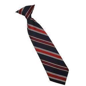 Boys Neck Tie Red Blue Striped Clip On Church